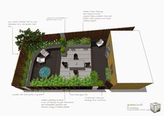 greencube garden and landscape design, UK: Clients in L.A, Black decking and working on an 'arts and crafts' scheme