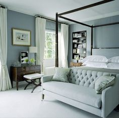gorgeous seat at the end of the bed and wall color...love