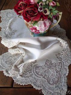 Glorious! Antique Fine Lace Rosepoint Runner Alencon or Point de Gaze www.Vintageblessings.com