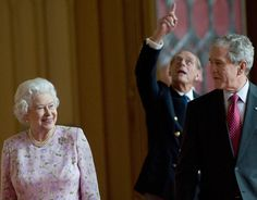 Queen Elizabeth II and Prince Philip lead former US President George W. Bush in…