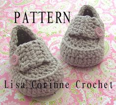 Mocasines de patrón del bebé bebé patucos por LisaCorinneCrochet
