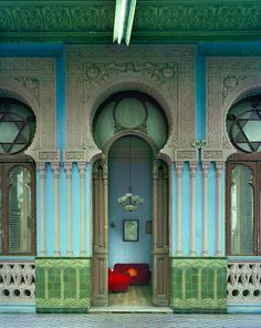 Available for sale from Duane Reed Gallery, Michael Eastman, Havana, Cuba - Moorish Facade Digital Print Photography, 72 × 90 in Art Nouveau, Architecture Unique, Cuban Architecture, Historical Architecture, Moorish, Lush Green, Doorway, Elle Decor, Windows And Doors