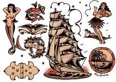 Sailor Jerry, Flash Sheet, T Shirt Design. Vulture Graffix Online Mail order T… Traditional Flash, Traditional Tattoo Flash, American Traditional, Sparrow Tattoo Design, Vintage Tattoo Art, Sailor Jerry Tattoo Flash, Sea Tattoo, American Tattoos, Cool Tats