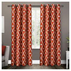Gates Sateen Woven Room Darkening Grommet Top Window Curtain Panel Pair