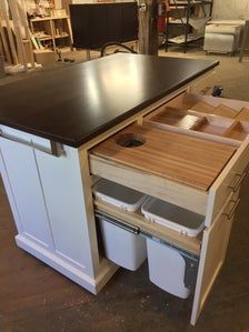 Narrow Kitchen Island, Kitchen Island With Stove, Kitchen Island Storage, Kitchen Layouts With Island, Kitchen Redo, Kitchen Styling, Islands For Small Kitchens, Kitchen Without Top Cabinets, Kitchen Island Built In Seating