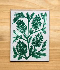 Five hand block printed Holiday cards and envelopes