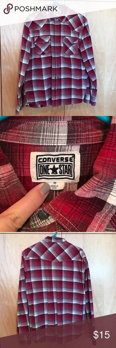 Men's Converse Flannel Snap Shirt Red, grey, and white flannel long sleeved shirt with snap closures. Medium. Comes from smoke free home. Converse Shirts Casual Button Down Shirts