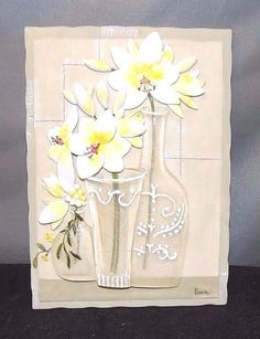 Beautiful Hanging Slate with Yellow White Raised Flowers in Raised Clear Vases | eBay