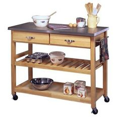 Stainless Steel Top Kitchen Cart - the most perfect dimensions!! THIS IS THE ONE I WANT TO GET FOR MARC!!