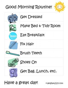 Good Morning Routine for Kids {Free Printable} www.getSNAZZY.com