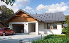 #projekt #dom #drewniany #jednorodzinny #parterowy #trzypokojowy #garaż #nowoczesna #elewacja Garage Doors, Sweet Home, Villa, New Homes, Exterior, Outdoor Structures, House Design, Cabin, House Styles