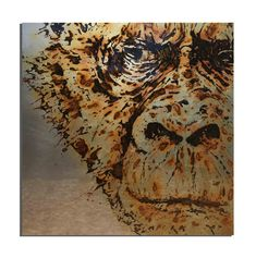 70x70 - contemporary art painting on metal made with rust on steel. This Gorilla is made with vinegar and water from the tap water of Barcelona (Catalunya, Spain) - projet Water Is Life, Contemporary Art, graphic art, animal artist? ART FACE Vinegar And Water, Metallic Paint, Face Art, Artist Art, Rust, Graphic Art, Contemporary Art, Barcelona, Spain