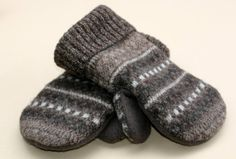 Men's Upcycled felted wool sweater mittens by inspiringdreams, $25.00