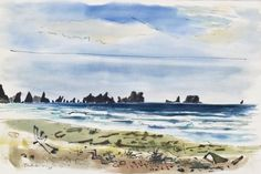 Lot 407- George Tsutakawa (1910-1997 Washington) Untitled Beach Scene, La Push 1961 Watercolor & Sumi Ink on Paper 10.25''x15.25'' Image. Depicting a colorful La Push, Washington coastal scene. Signed and dated l.l. Total framed size 17.5''x22''.