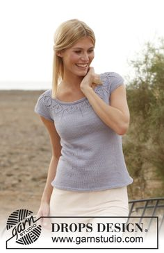"Knitted DROPS top with round yoke and lace pattern in ""Muskat"". Size: S - XXXL ~ DROPS Design"