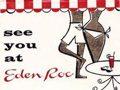 Eden Roc Miami Beach South Florida Vintage Graphic Cabana Resorts Hotels Vacation Cabanas