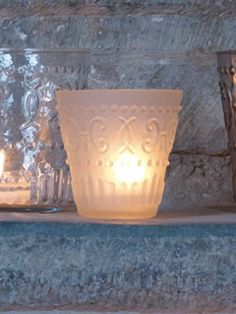 Glue gun motif+ diluted white acrylic...  opaque white glass votive