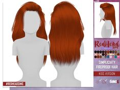 SIMPLICIATY FIREPROOF HAIR KIDS VERSION at REDHEADSIMS – Coupure Electrique • Sims 4 Updates
