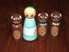Goldilocks and the Three Bears. Peg people