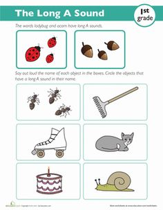 First Grade Phonics Worksheets: Long 'A' Words