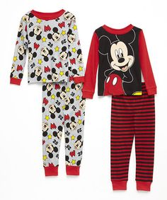 Look at this #zulilyfind! Red Stripe & Gray Mickey Mouse Pajama Set - Toddler #zulilyfinds