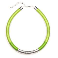 Image of KASAI Tube Necklace in Citrus Green and Silver
