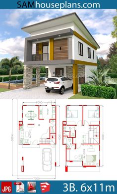 design plans simple House Plans with 3 Bedrooms House Plans with 3 Bedrooms - Sam House Plans Simple House Plans, Simple House Design, Family House Plans, House Front Design, Modern House Design, 2 Storey House Design, Duplex House Plans, Bungalow House Design, Dream House Plans