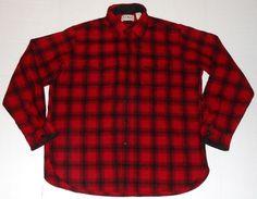 Vintage L.L. BEAN Men's Red Plaid Wool Nylon Flannel Shirt LARGE AS82 Buffalo #LLBean #ButtonFront