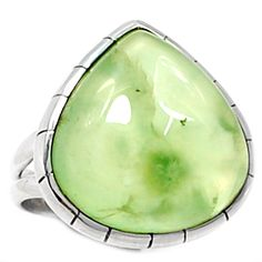 Prehnite 925 Sterling Silver Ring Jewelry s.8 PNTR504