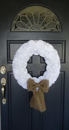 White and Burlap Ruffle Wreath. via Etsy.