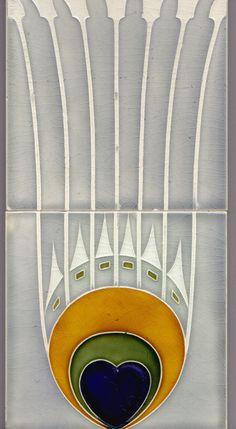 2 x Jugendstil Fliese Kachel Art Nouveau Tile NStG