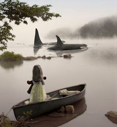 goodnightmorticia: The girl and the whales by *ejkej0046