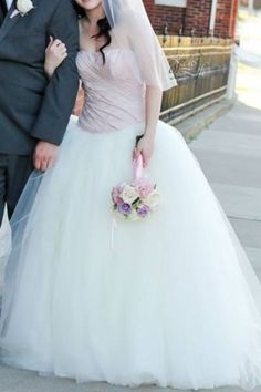 Vera wang - love this blush top with ivory tulle bottom! <3