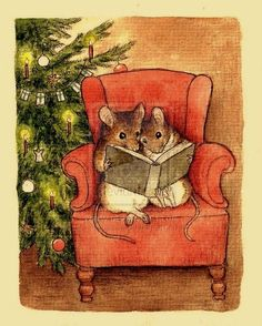 sweet little mice reading in an arm chair by the christmas tree - can't find source to credit artist