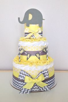 Chevron Gray and Yellow Lil' Peanut Elephant Diaper Cake Baby Shower Centerpiece by PoshPartyCompany on Etsy https://www.etsy.com/listing/203390808/chevron-gray-and-yellow-lil-peanut