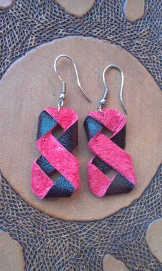 Week 12 - Earrings - Black and red leather