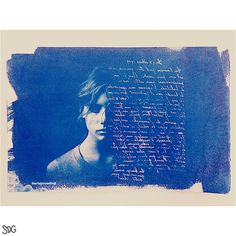 Finished cyanotype  #blue #cyanotype #vintage #words #writing #girl #art #printmaking #chemicals #artwork #artist