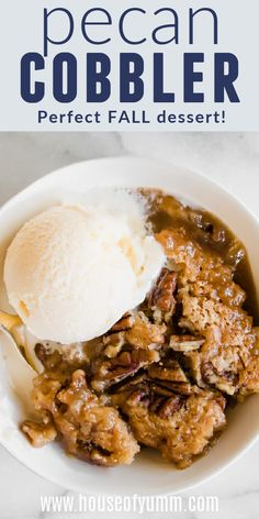 Pecan Cobbler. This easy to make cobbler dessert has the rich flavors of a pecan pie. Plus it also has a cake like topping, and a caramel sauce that is made underneath as it bakes! This is sure to become a new family tradition! Perfect for Thanksgiving! Fudge Recipes, Candy Recipes, Dessert Recipes, Easy No Bake Desserts, Fall Desserts, Pecan Cobbler, 2 Quart Baking Dish, Cake Toppings, Family Traditions