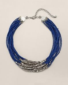 "Chico's Posy Blue Short Necklace #chicos. A short necklace with cool beaded layers: grab life by the accessories. Adjusts from 18"" to 22"". Glass, metal, and synthetic materials. Imported."