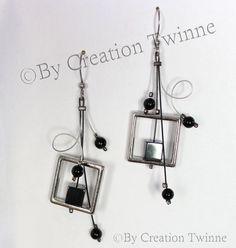 noir gris boucles d'oreilles boucles d'oreilles par creationtwinne, $25.00
