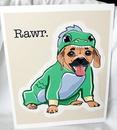 I love this and it looks just like my puppydog!!! (She acts like a dragon too!!) Puggle Dragon  EcoFriendly 8x10 Print by AfricanGrey on Etsy, $16.00.