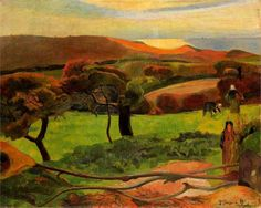 "Paul Gauguin, ""Breton Landscape - Fields by the Sea (Le Pouldu)"", 1889, oil on canvas, Nationalmuseum, Stockholm, Sweden"