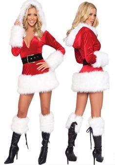 1c8b1d963 Stunning new faux fur trim hooded velvet Santa Christmas dress for the  Season! Faux fur trim Sexy Santa Helper outfit Includes zip front hooded  velvet Santa ...