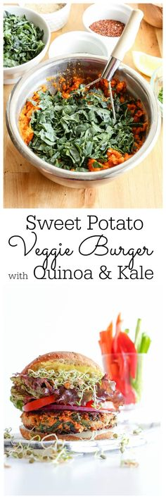Nourishing and packed with flavor, this Sweet Potato Veggie Burger is a mouthwatering make ahead burger. It freezes with ease and is on the ready when you need it. | Vanilla And Bean