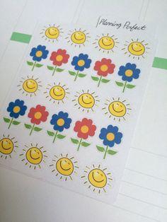 Sunshine and Flowers Stickers for Erin Condren by PlanningPerfect  #planner #stickers #erincondren #lifeplanner #planning #sun #flowers #red #blue #yellow #summer #scrapbooking #cute #fun
