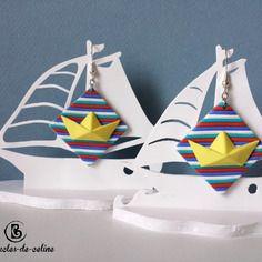 Boucles d'oreilles: petits bateaux origami jaune