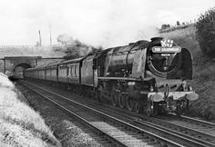 Coronation Pacific 46226 'Duchess of Norfolk' leaves Preston Brook Tunnel while heading the nothbound 'Caledonian', 1950 Train Car, Train Tracks, Train Rides, Electric Locomotive, Steam Locomotive, Diesel Locomotive, Steam Trains Uk, Train Pictures, Art Pictures