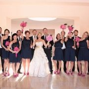 navy an pink wedding party  This pic has inspired the wedding colors I want: navy,magenta, and green-kosher for a 10-19-13 wedding???