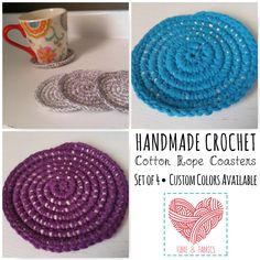 Crochet Rope Coasters • Set of 4 • 100% Cotton • Custom Colors Available • Made to Order • https://www.etsy.com/listing/474637199/crochet-rope-coasters-set-of-4-100 • #crochet #ropecoasters #etsy #etsyseller #shopsmall #madetoorder
