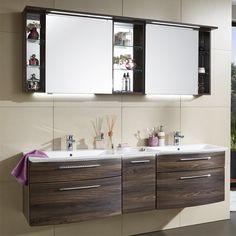 Puris Linea Badmöbel Set - 170 cm mit Spiegelschrank inkl. Regal und Mineralguss-Doppelwaschtisch